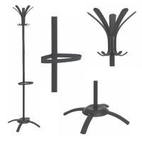 Coat stand with 5 double pegs, umbrella holder and water retainer, CLEO range by ALBA