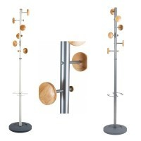 Coat stand with 6 coat pegs and umbrella holder with weighted base, MUSIC range from Alba