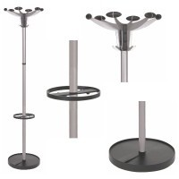 Coat stand with a rotating head and 6 pegs and 6 hooks, an umbrella holder and weighted base, SEVILLE range from Alba