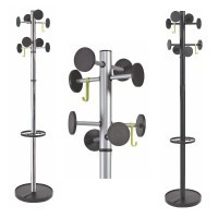 8 Peg coat stand with umbrella holder and weighted base, available in metallic grey or black, STAN rage from Alba