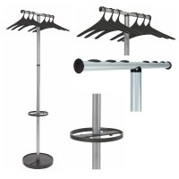Coat stand with bar for coat hangers, umbrella holder and weighted base, WAVE2 range from Alba